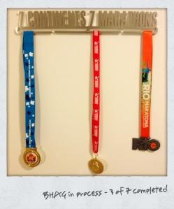 (L-R) 2010 Ottawa Marathon, 2011 Iceland Reykjavik Marathon, 2012 Rio de Janeiro Marathon