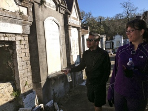 Wayne played a trick on us when he walked by this particular grave, took a step back & look worried. As you can see from my nervous laugh, he got me good!