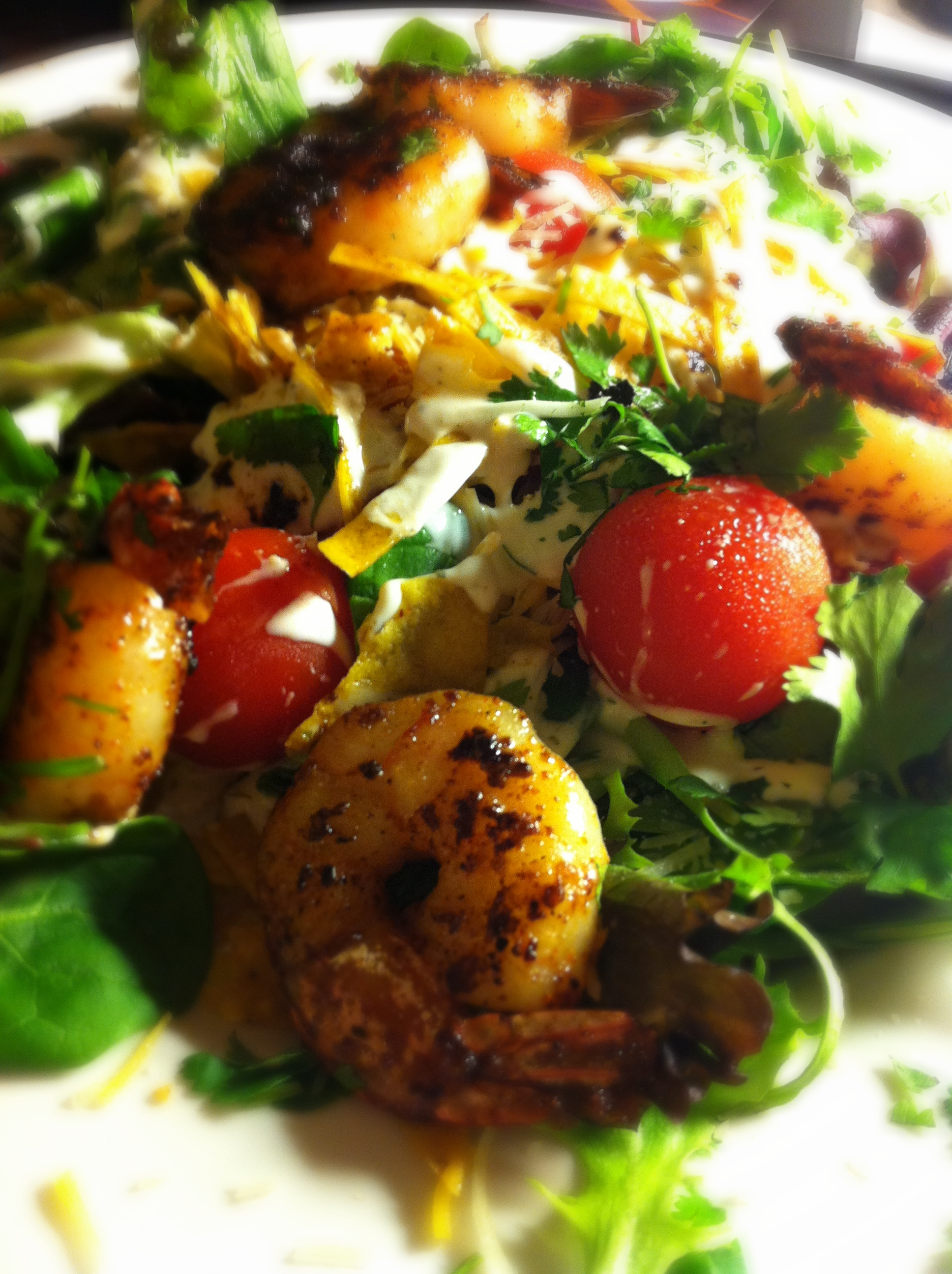 Grilled Shrimp Avocado Tomato Arugula Salad